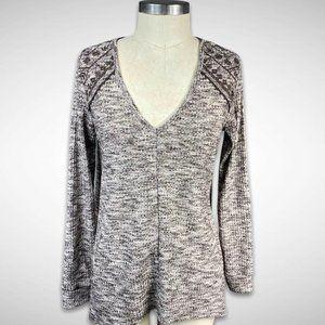 Knox Rose Knit Boho Top Long Sleeve Lace S